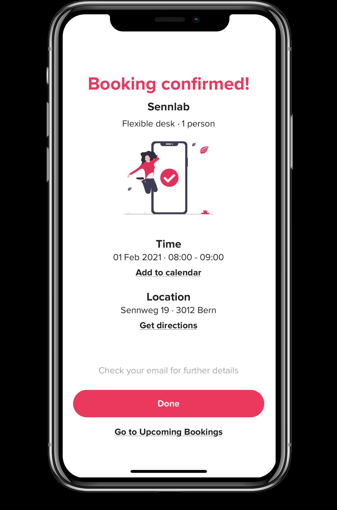 Screenshot of deskbird app booking confirmed