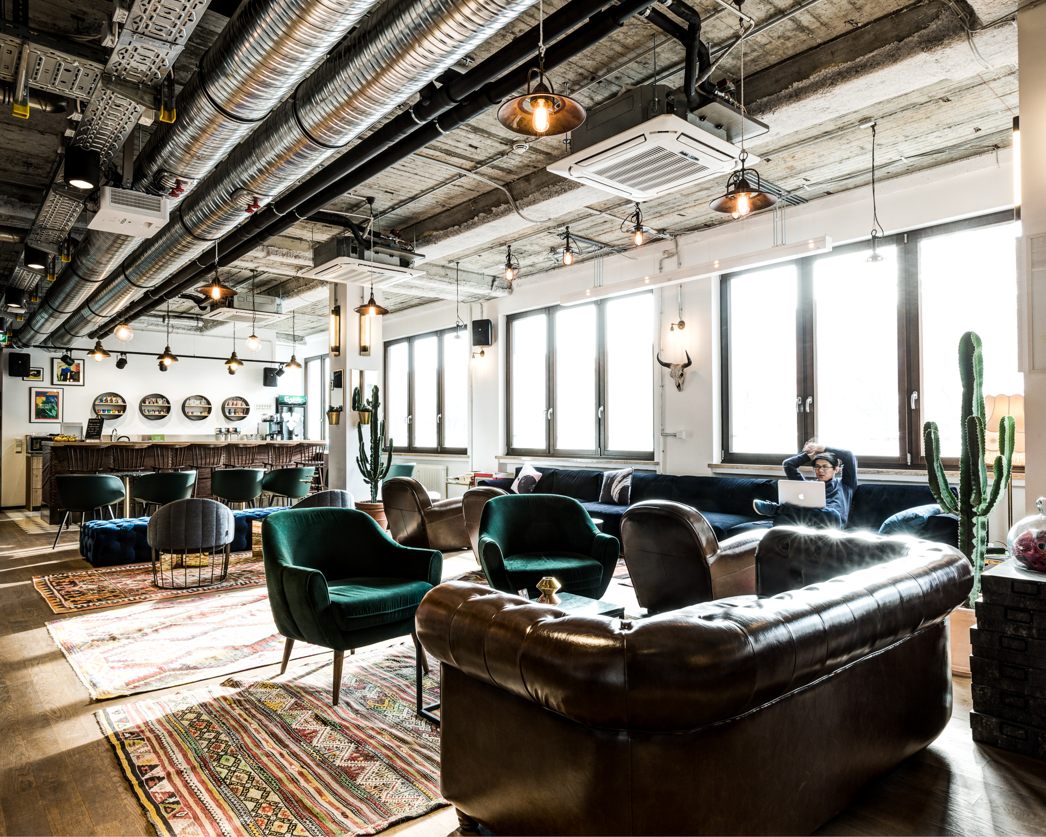 Sofas and armchairs in coworking space