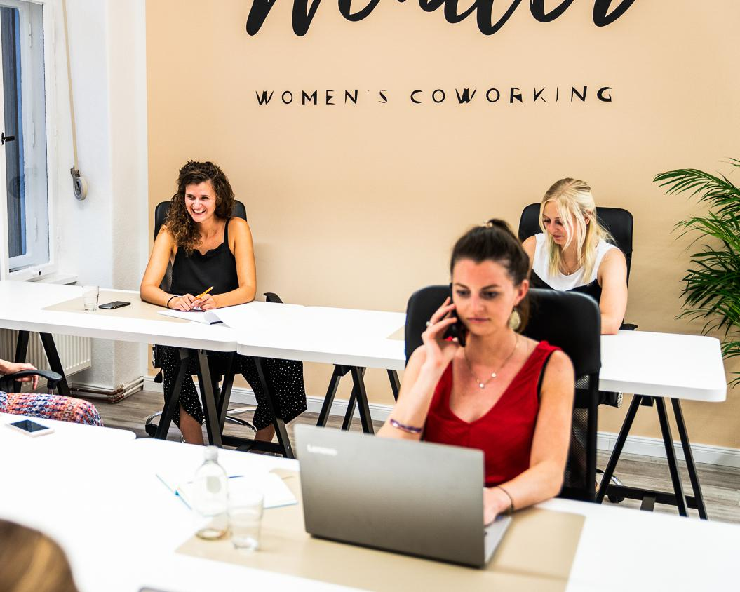 Woman on the telephone while working in Wonder coworking space
