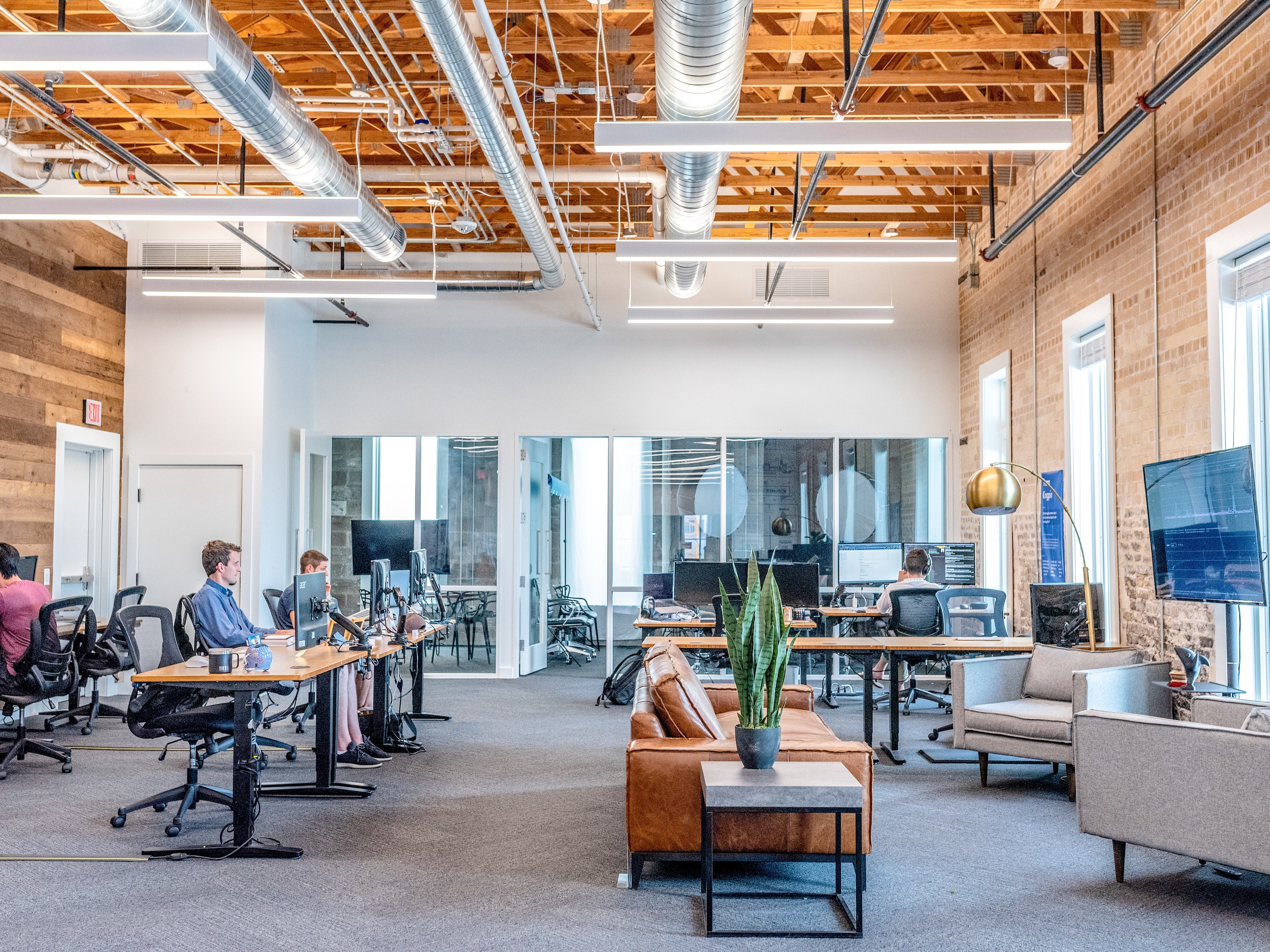 Coworking space with couches and plants