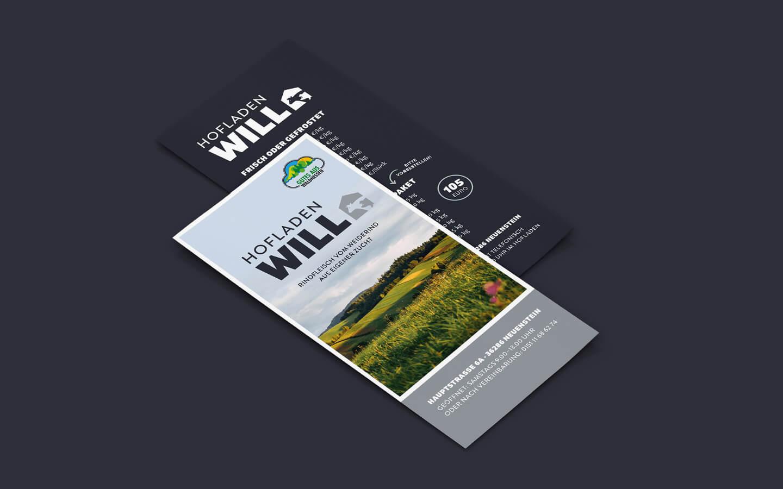 DIN lang Flyer und Logo Gestaltung für Hofladen Will
