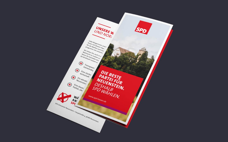 DIN lang Wickelfalz Flyer für die SPD in Neuenstein in Hessen zur Kommunalwahl in 2021