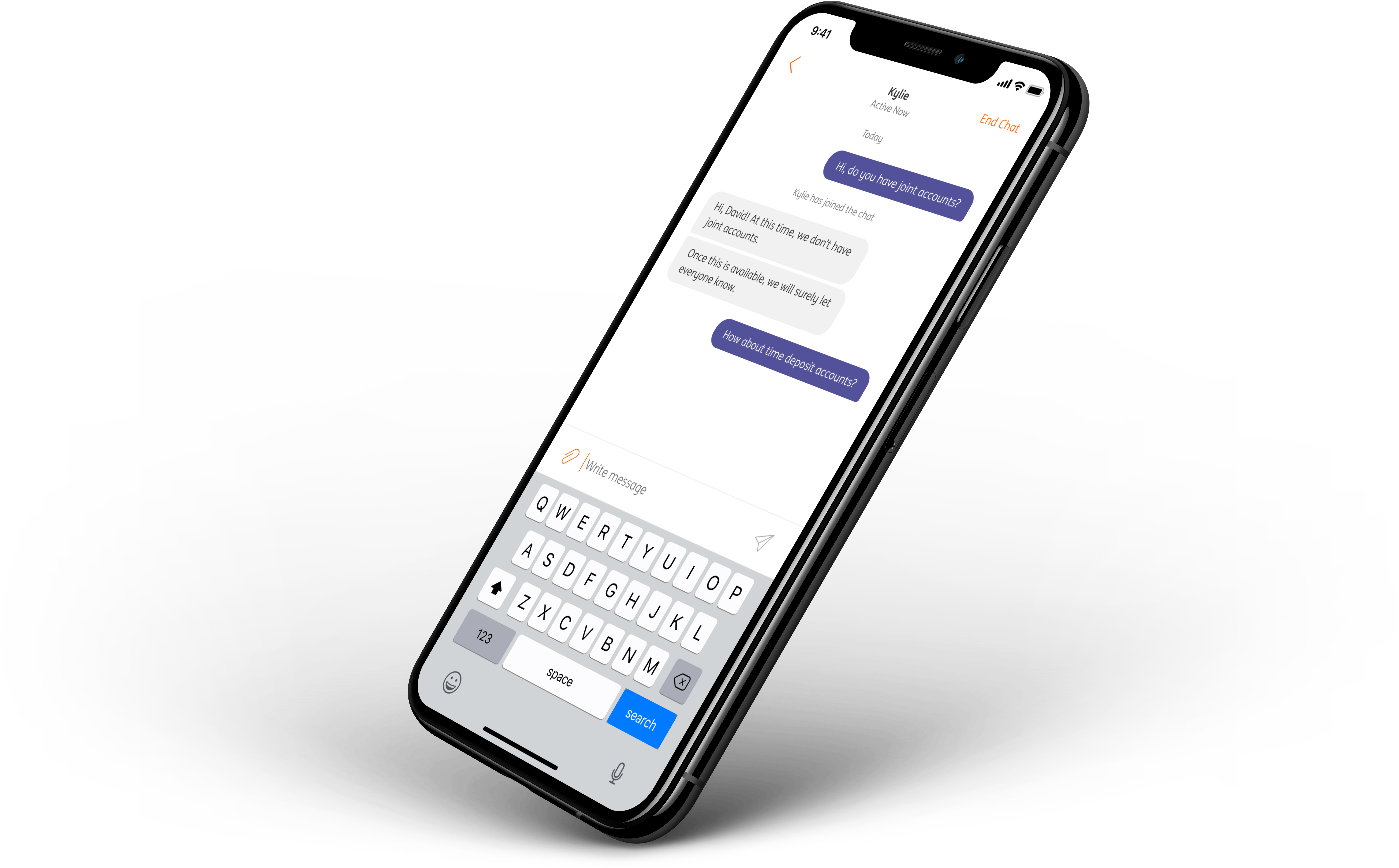 ING Chat in an iPhone