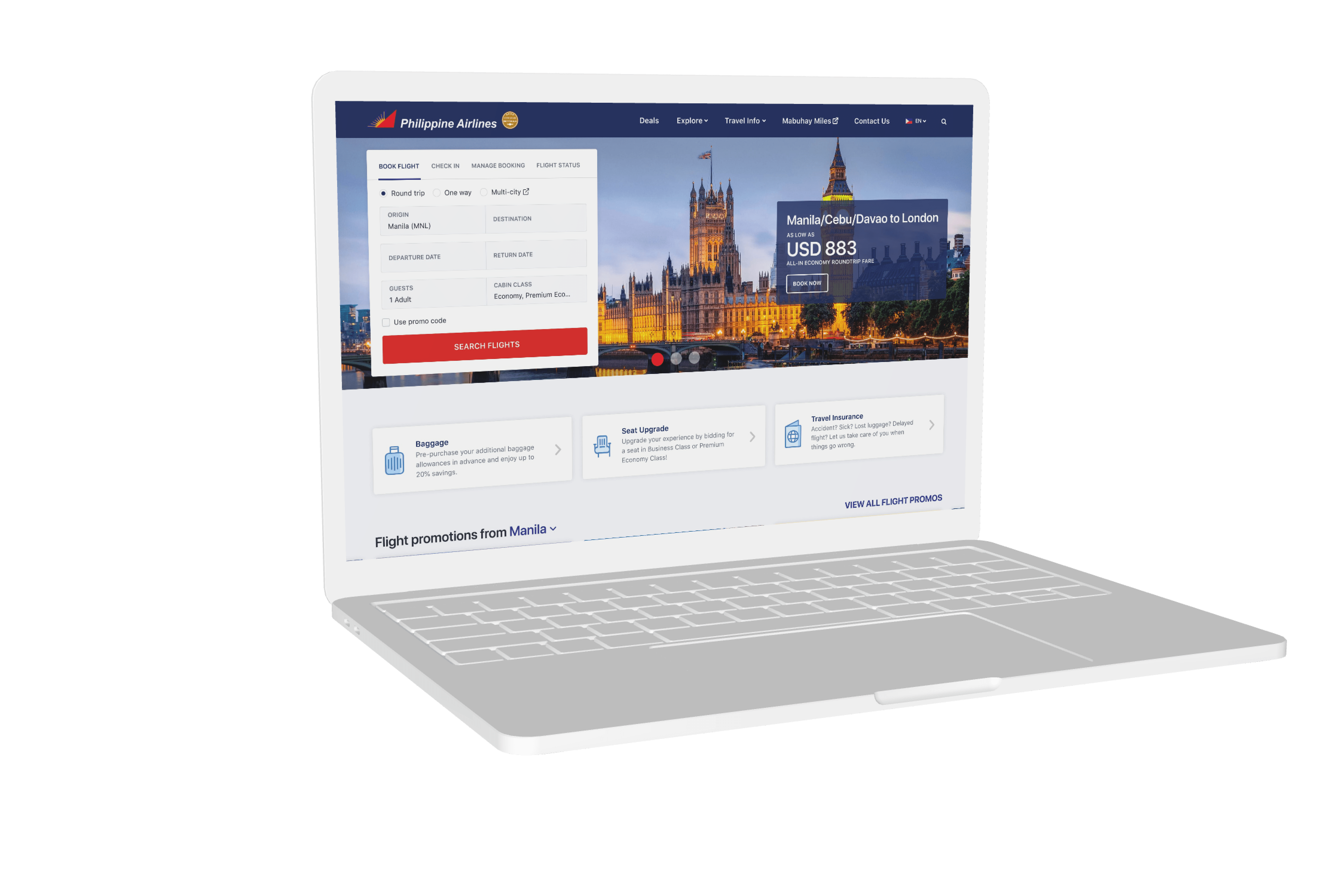 New Philippine Airlines website mockup