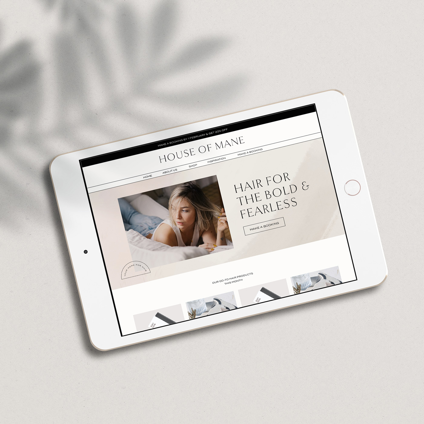 Feminine website for high-end hair salon on an ipad