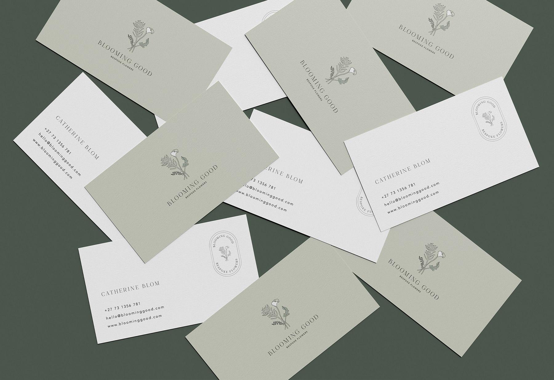 Business card design for bespoke flower studio, Blooming Good