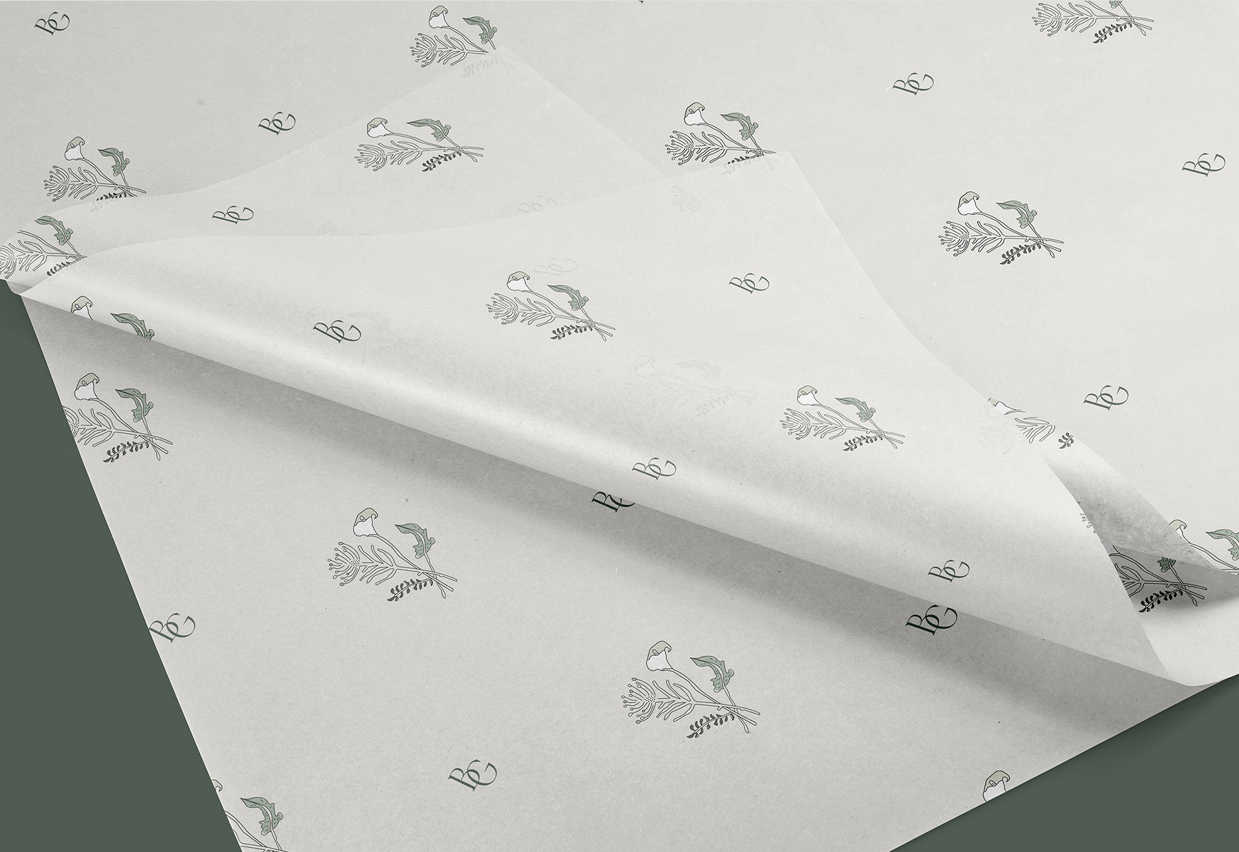 Tissue paper with illustrated logo for bespoke flower studio, Blooming Good