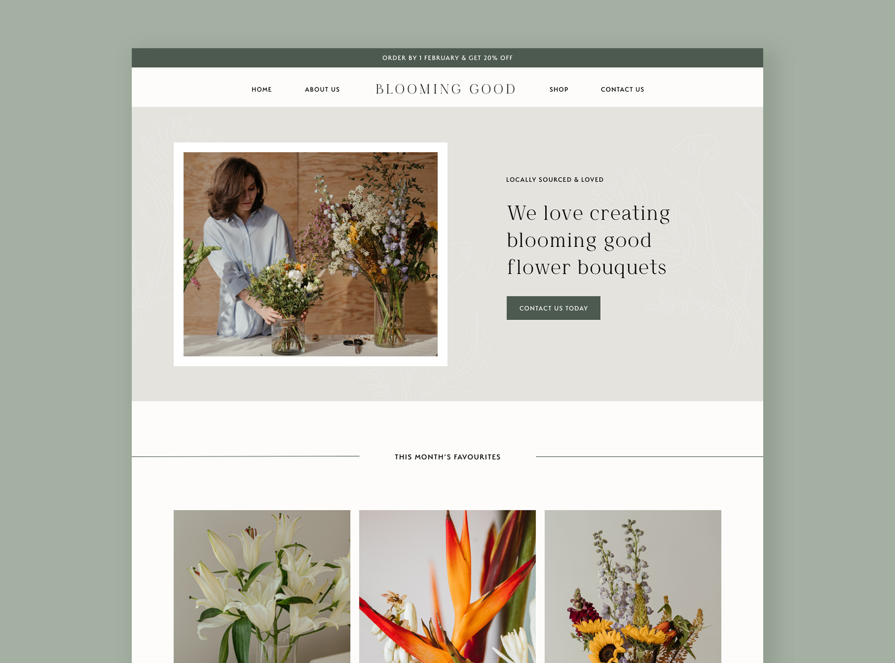 Webflow website mockup for a South African florist using an earthy, natural colour palette