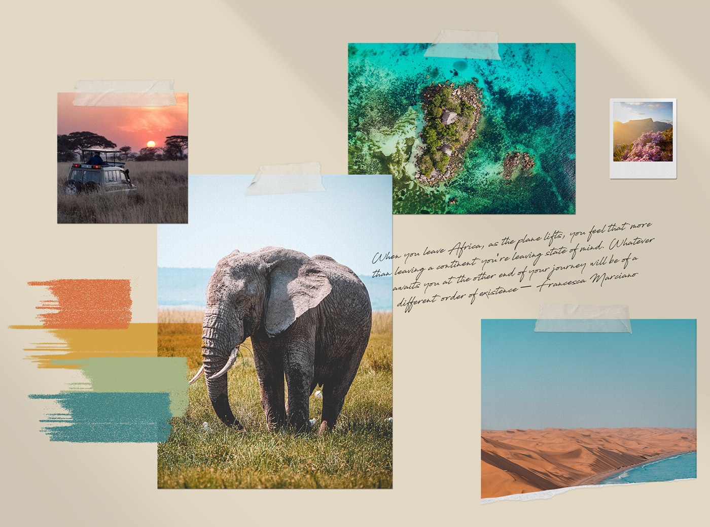Mood board for African travel company, Dream to Africa