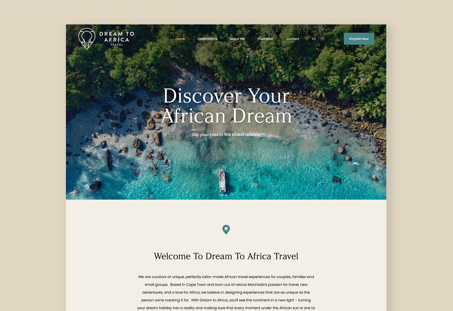 Beautiful WordPress website mockup for African travel company, Dream to Africa