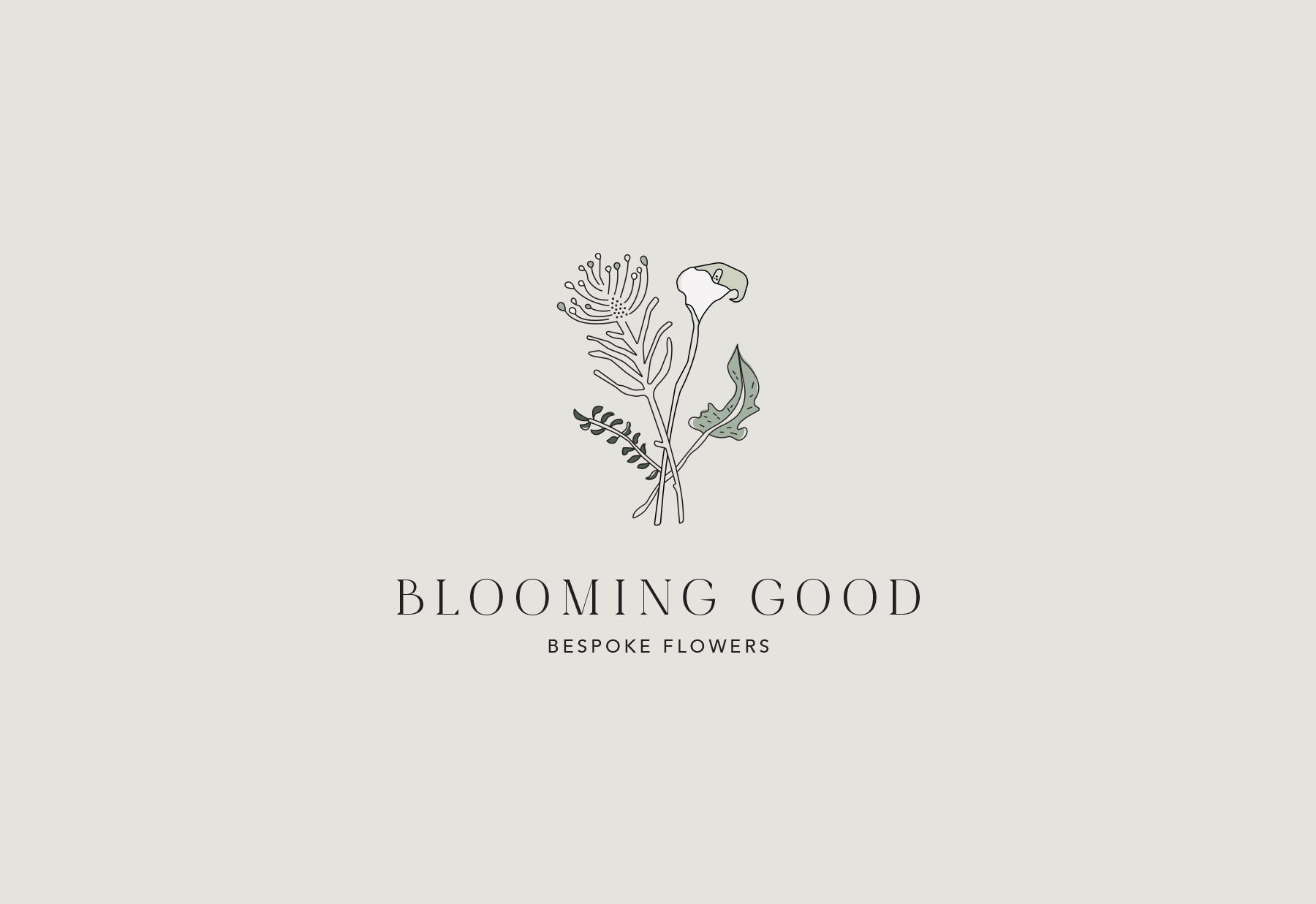 Illustrated logo for a boutique flower studio, Blooming Good