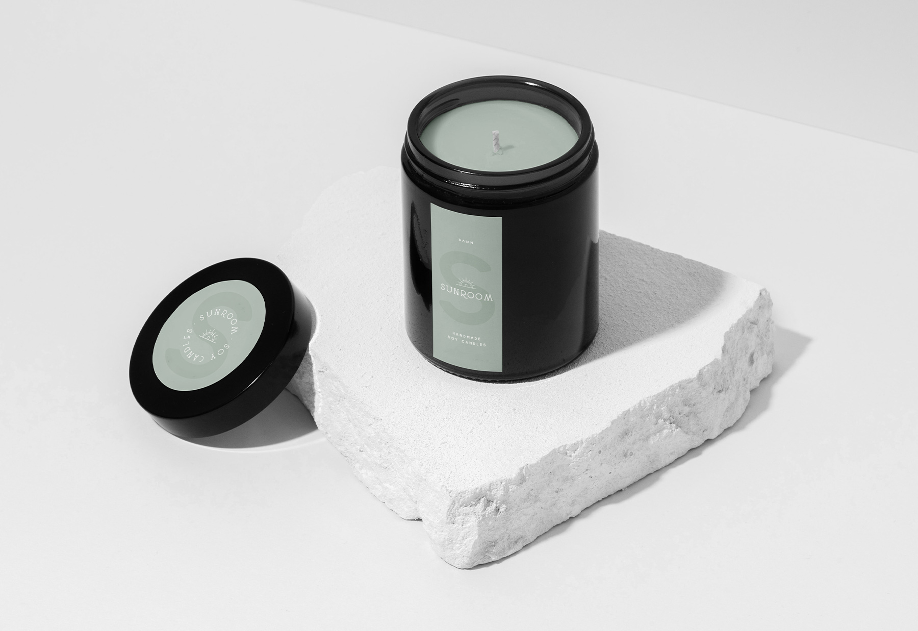 Beautiful candle mockup for Cape Town soy candle company, Sunroom