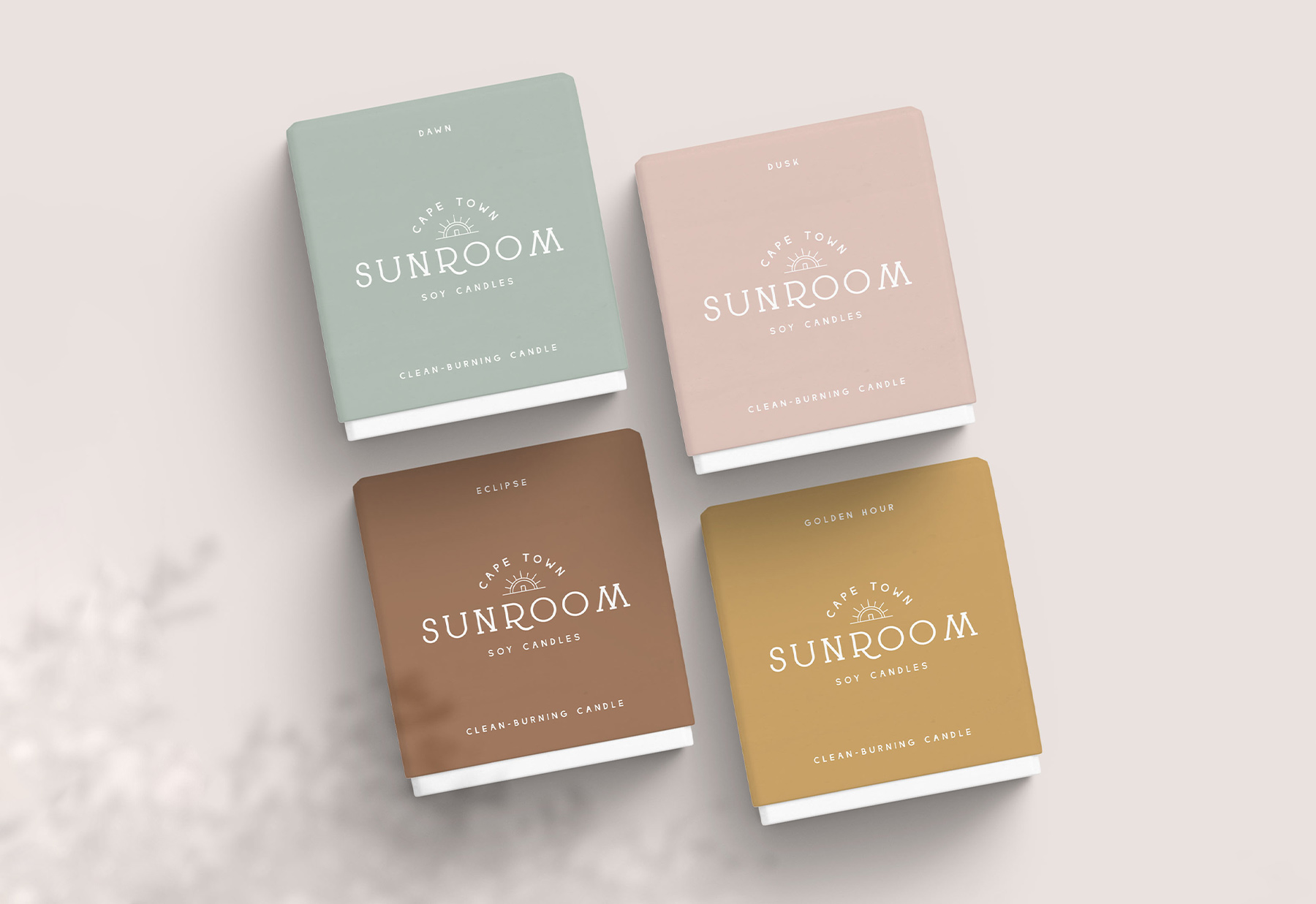 Pretty mockup of candle boxes for a soy candle company in Cape Town