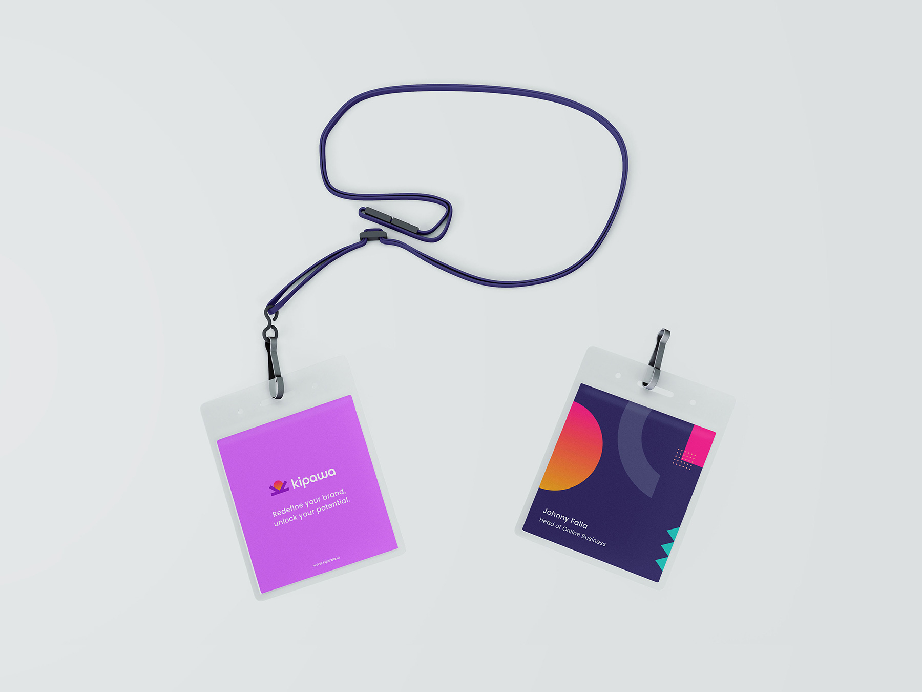 Lanyard design using bright, bold colours and branding