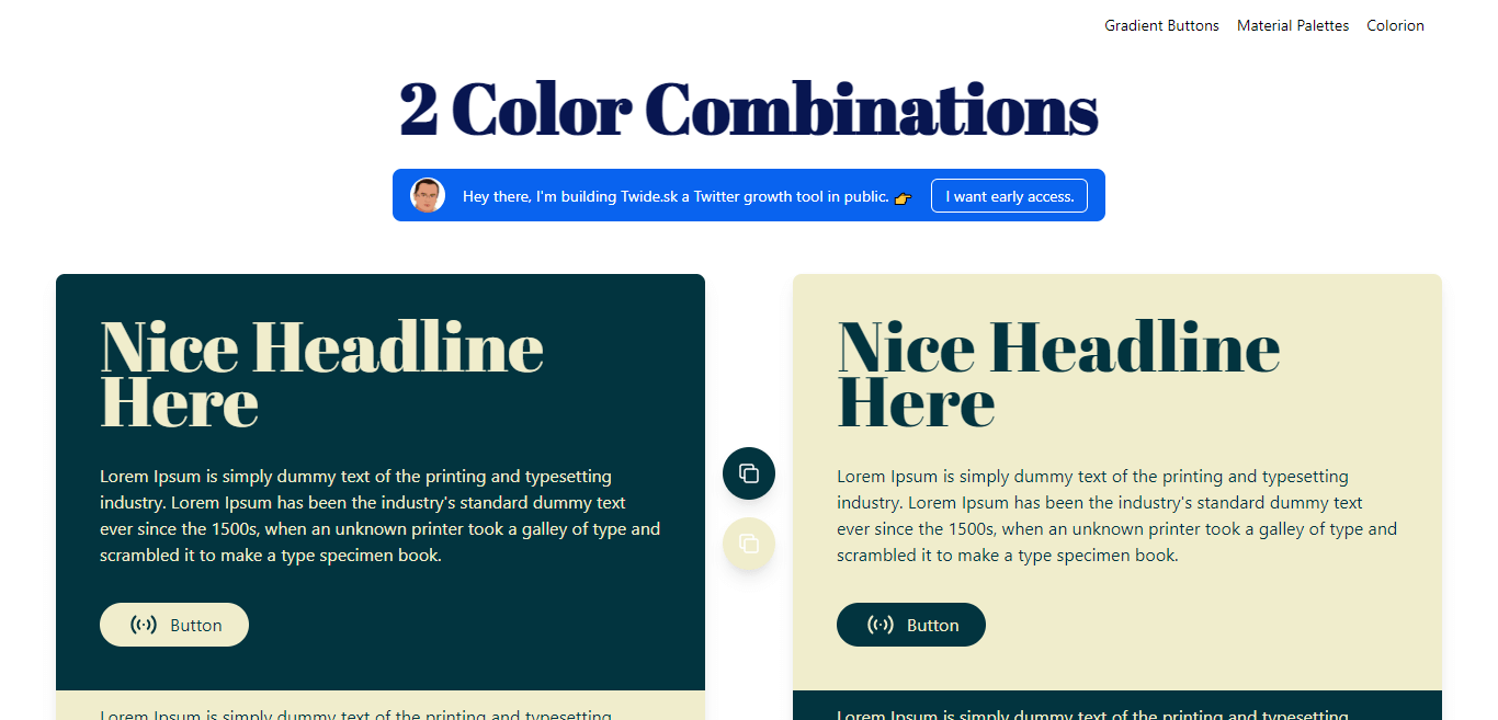 Two Color Combinations