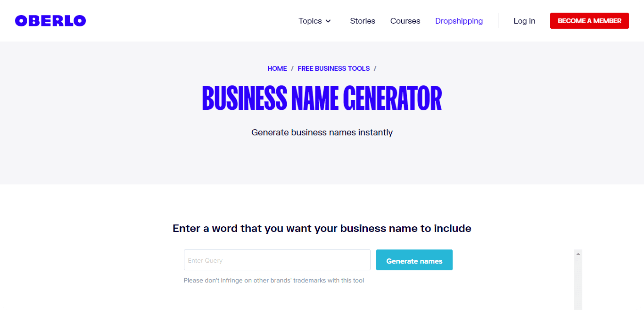 Oberlo-Generator-also-provide-business-name-for-small-business-to-choose-openly