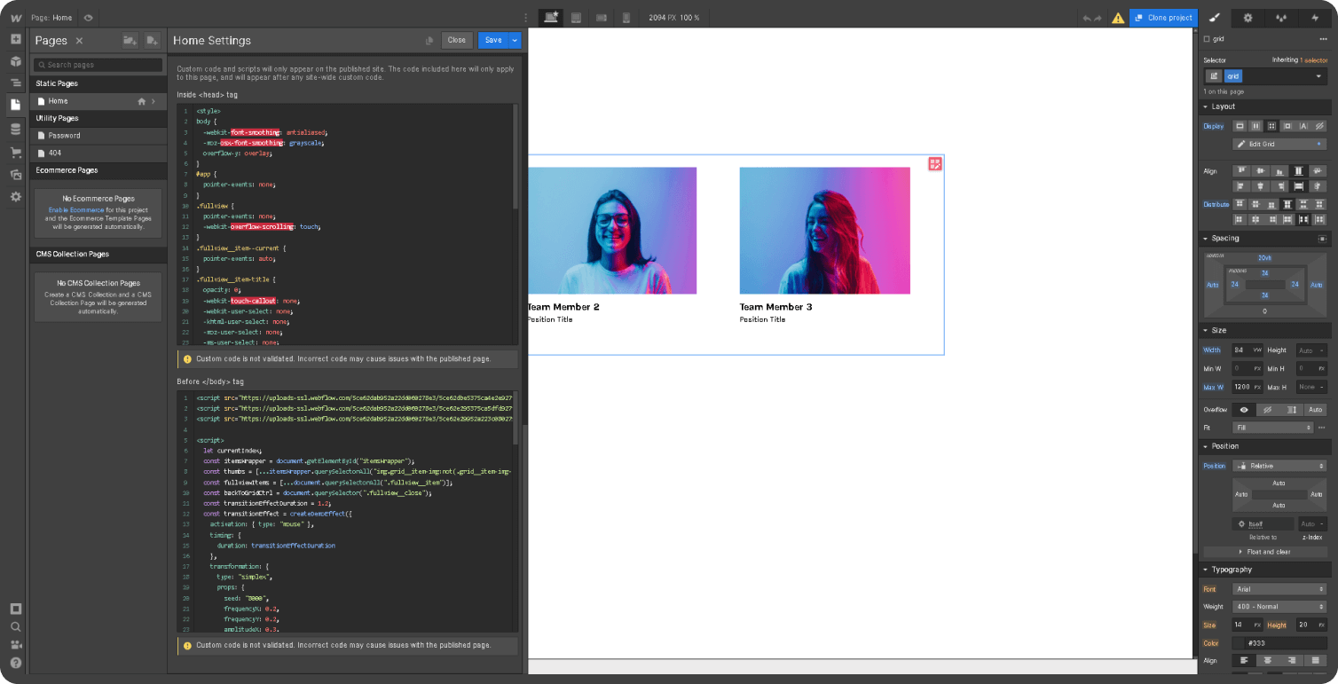 Users-can-configuration-html-css-js-code-in-custom-code-field-at-Webflow