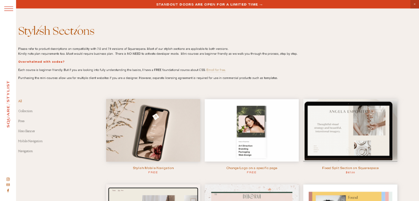 Squarespace Stylish Sections