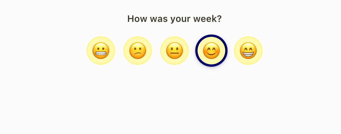 Popwork check-in mood question