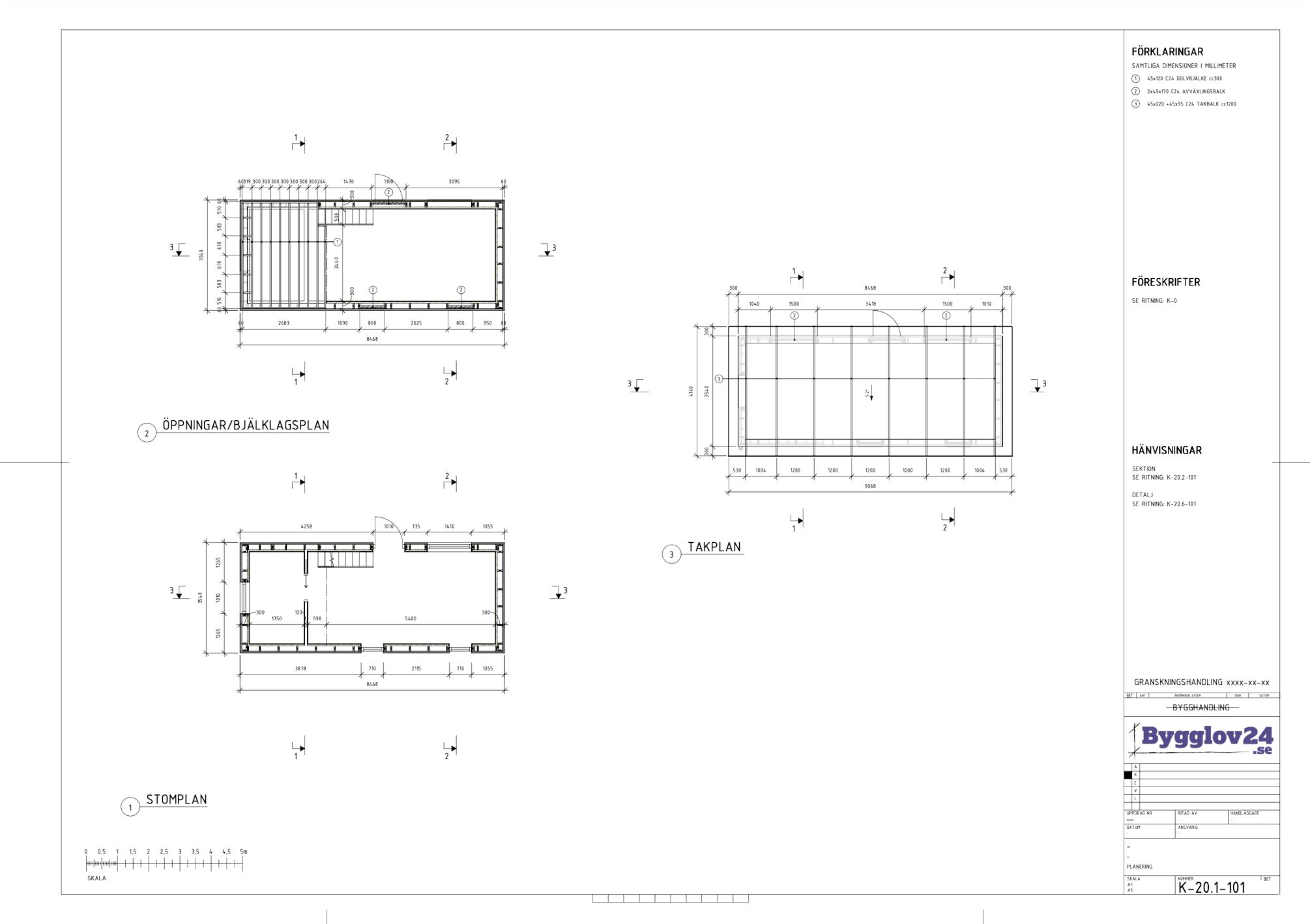 Exempel på konstruktionsritning – plan