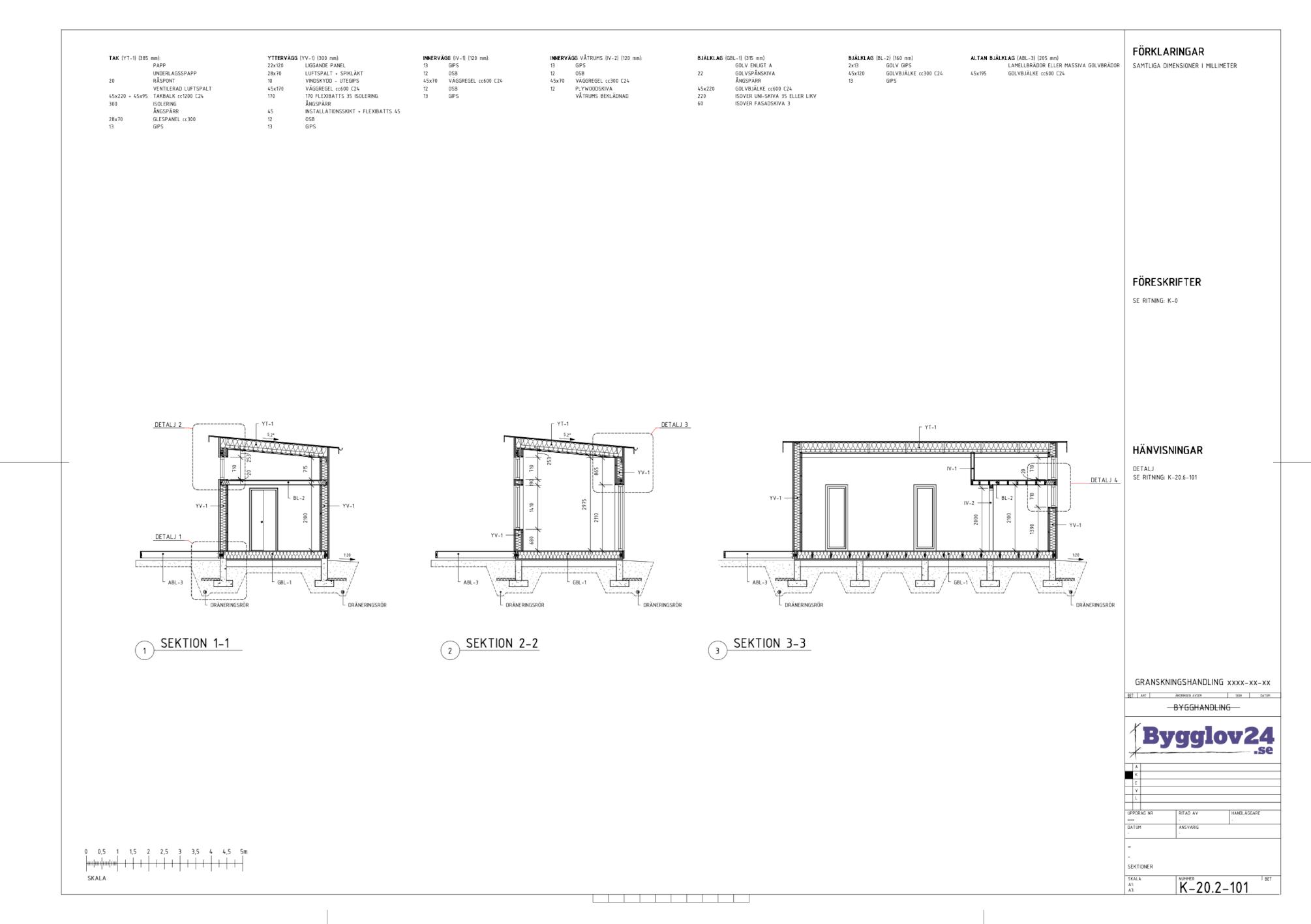 Sektioner i en konstruktionsritning av ett attefallshus på 30 kvm