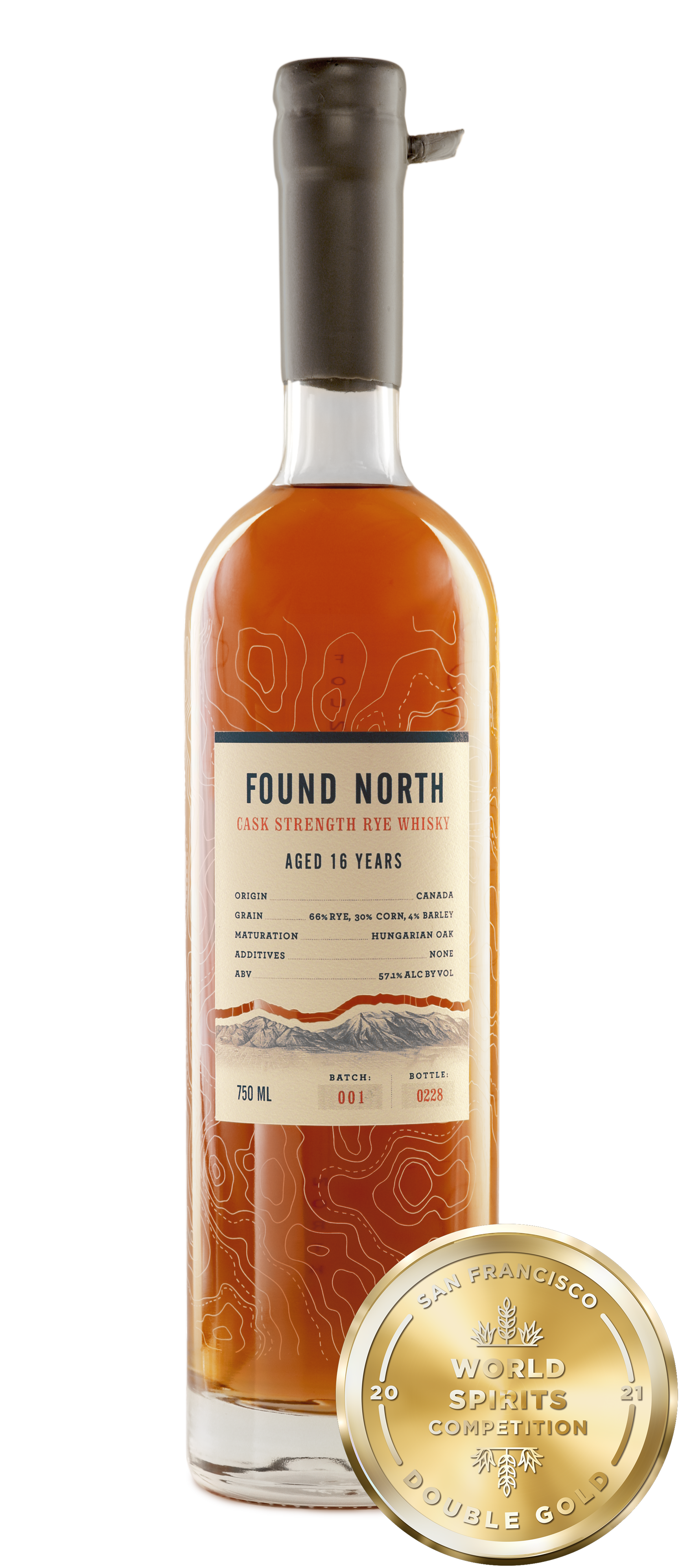 Image of Found North Batch 001 Cask Strength Rye Whisky with San Francisco World Spirits Competition Double Gold Medal