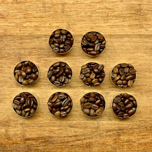 Ten individually packaged coffee beans from local Toronto roasters