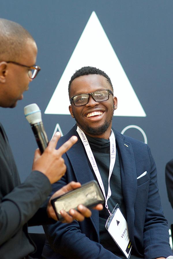Andile Masuku and Victory Matibiri on stage at Afrobytes