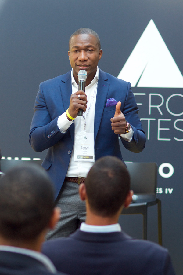 Samuel Amanor on stage at Afrobytes