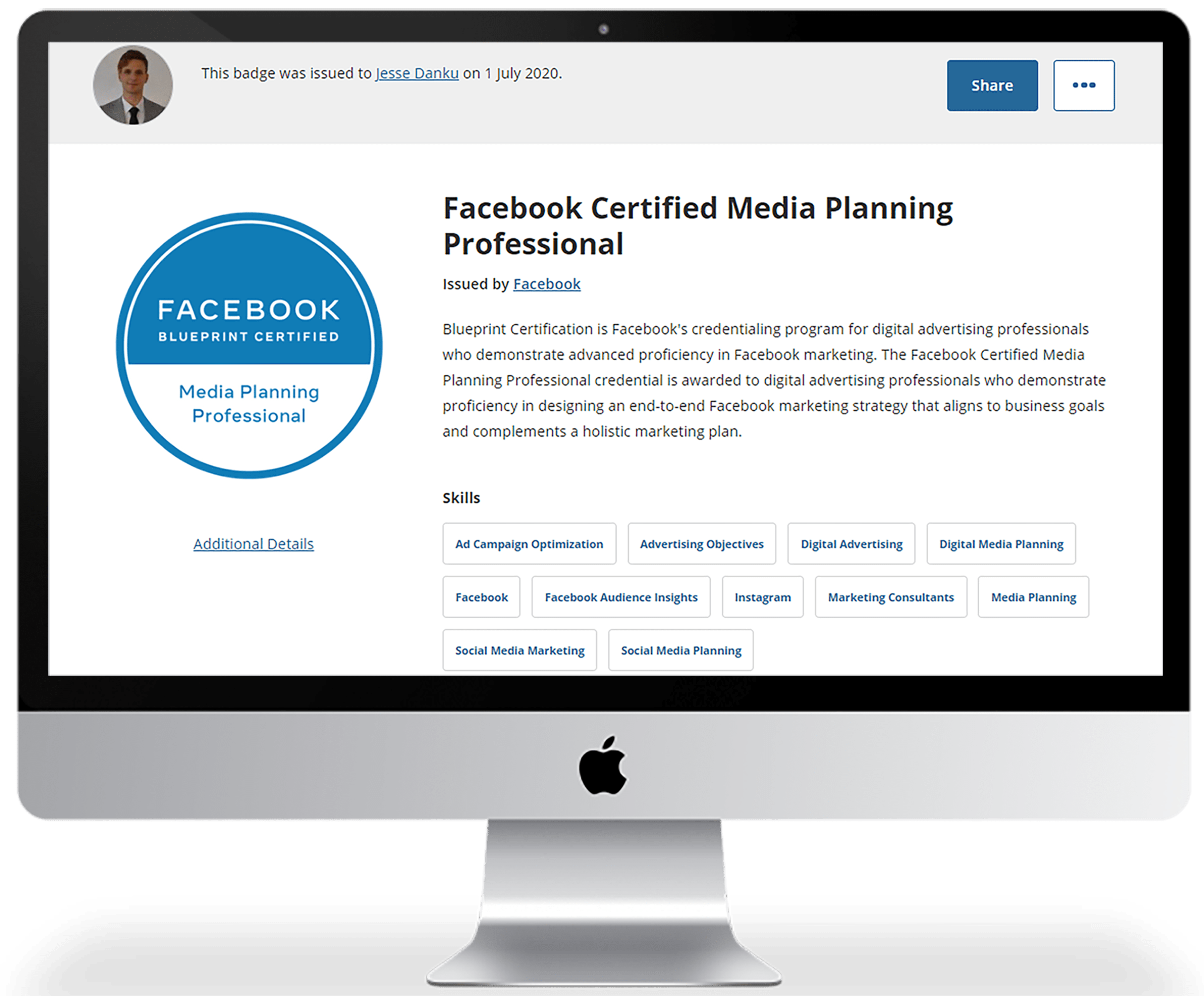 FB Certified Media Planning Professional certificate issued by Facebook
