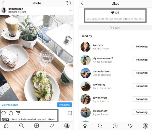 Instagram kedvelések elrejtése