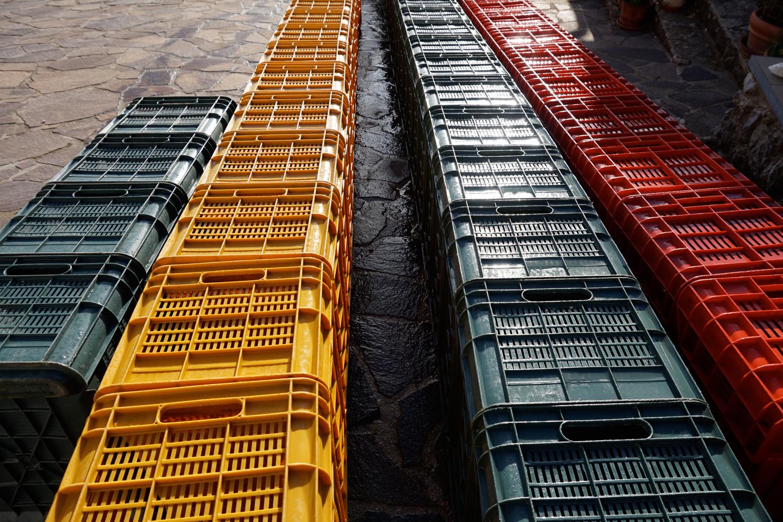 Die leeren Kisten nach der Ablieferung auf Podere Riparbella