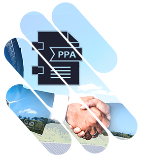 Shaped shaking hands for contracting a PPA