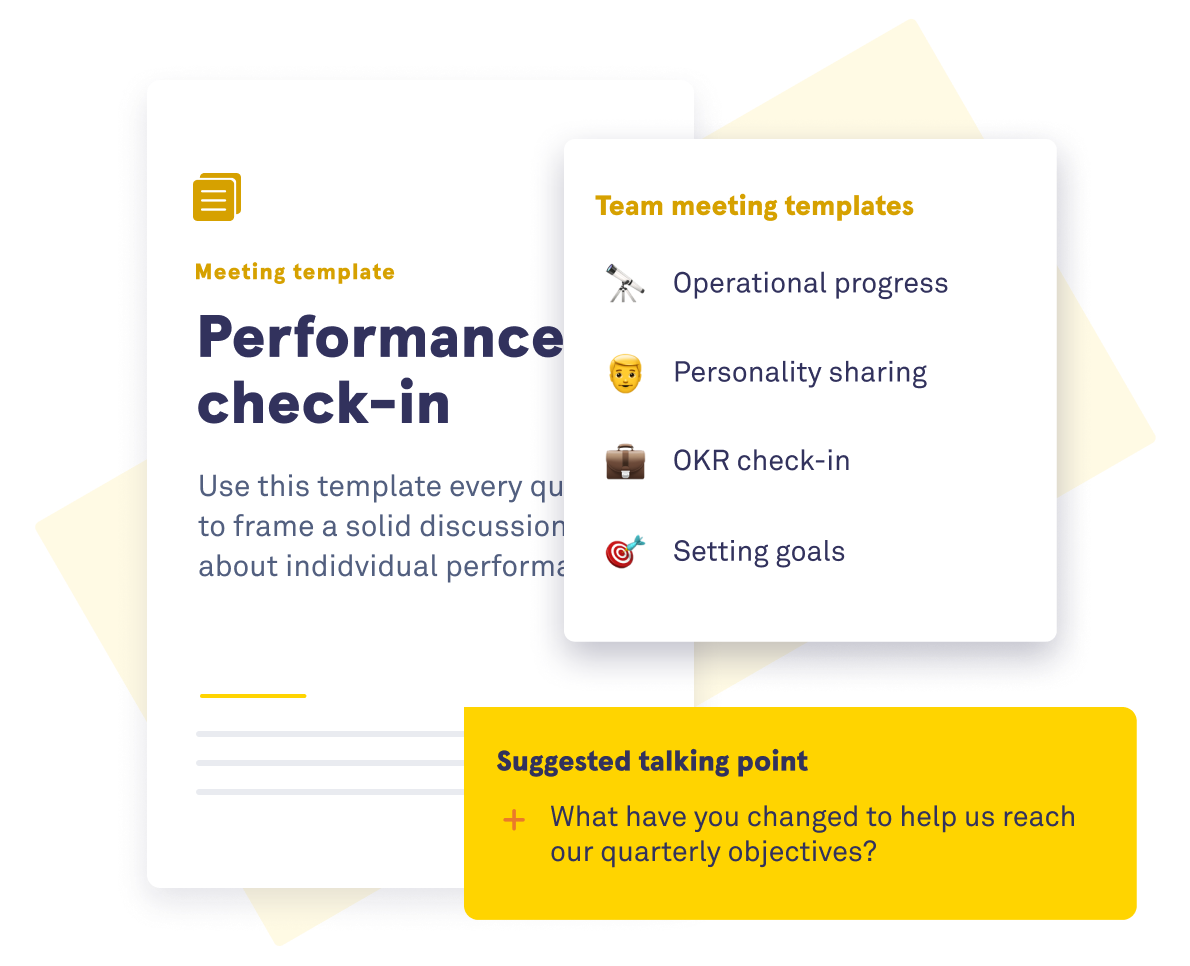 Illustration of performance check-ins on the Saberr platform