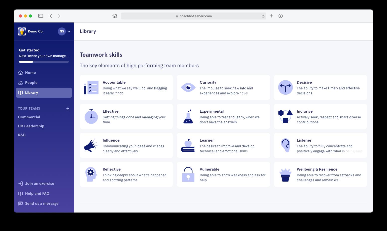 Screenshot of teamwork skills displayed in the Saberr platform