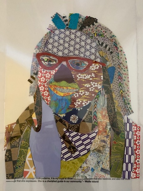 A visual adaptation of the first image of Terri-Lynn by the artist Kerryn Graham. Created with a variety of colourful items in a patchwork fashion.