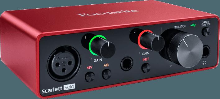 Focusrite SCARLETT3-SOLO 2 in/2 out USB-C, 1 mic, 1 line/Hi-Z