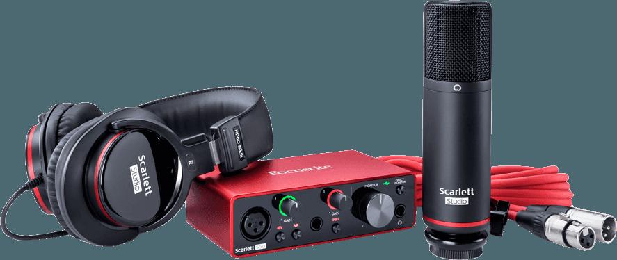 Focusrite SCARLETT3-SOLO-STUDIO 2 in/2 out USB-C, mic, phones & gears
