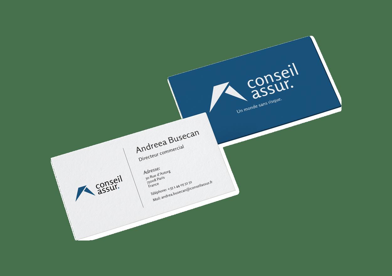 Branding Visit Cards Mock-up Conseil Assur Project