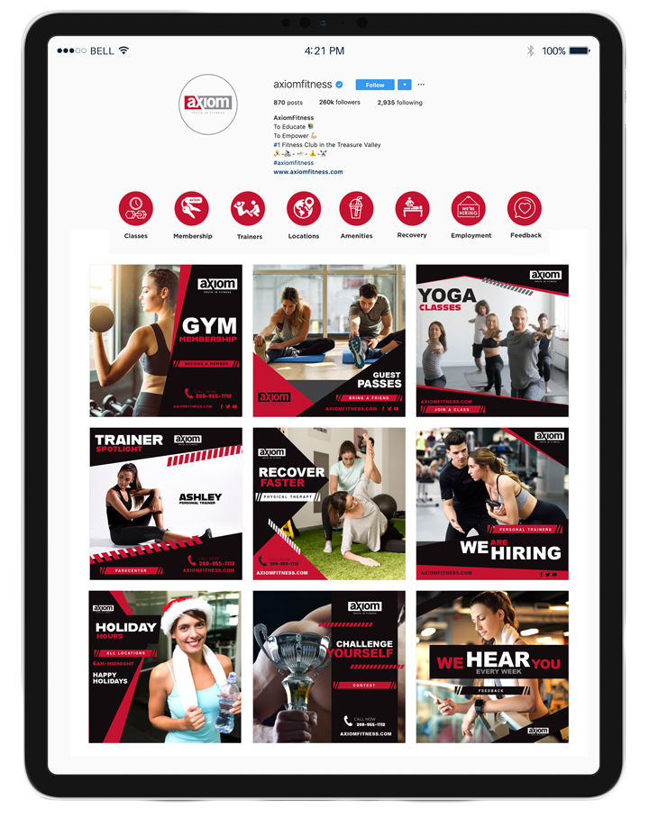 axiom fitness ipad social media instagram design