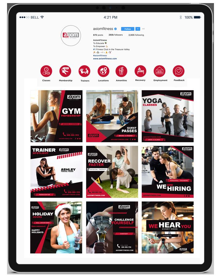 axiom fitness ipad social media instagram design