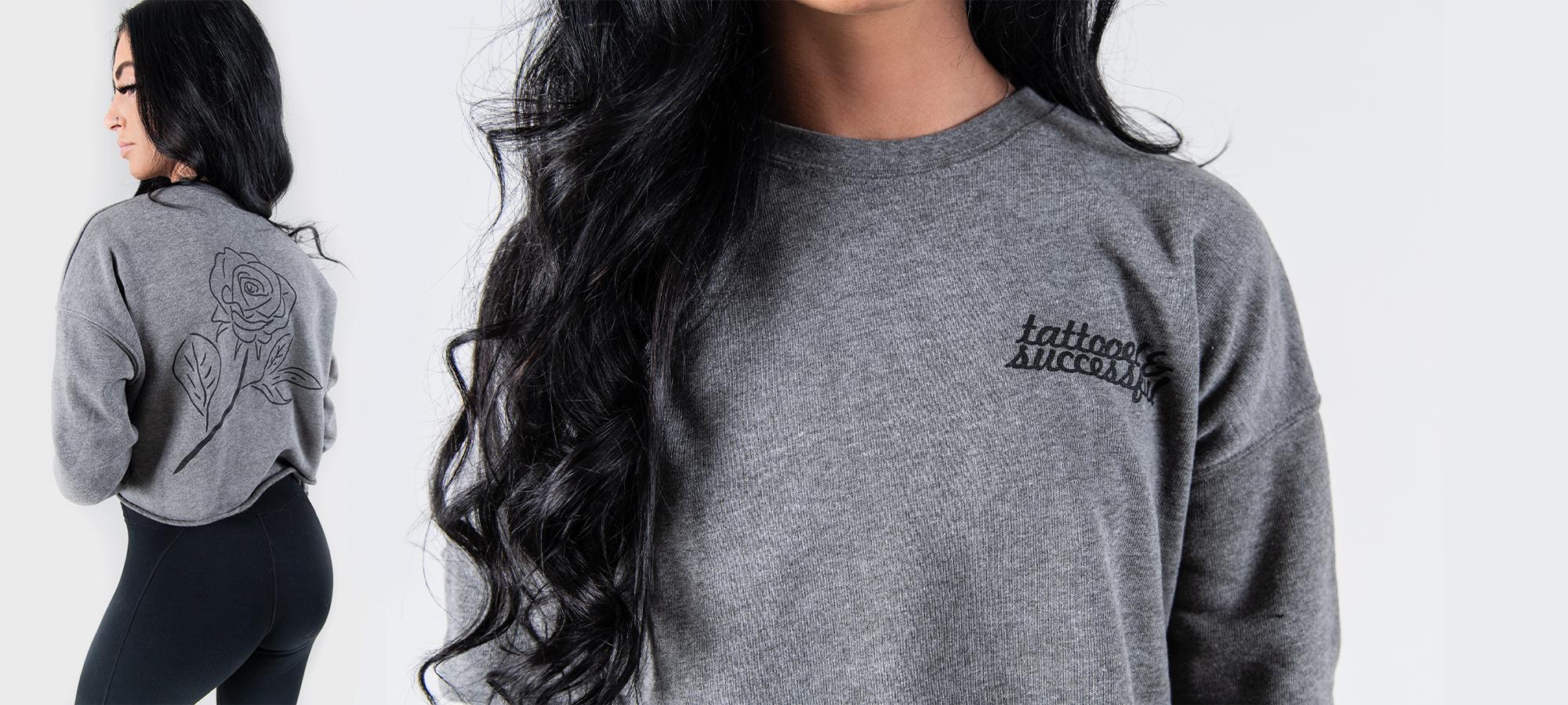 tattooed and successful grey rose sweater