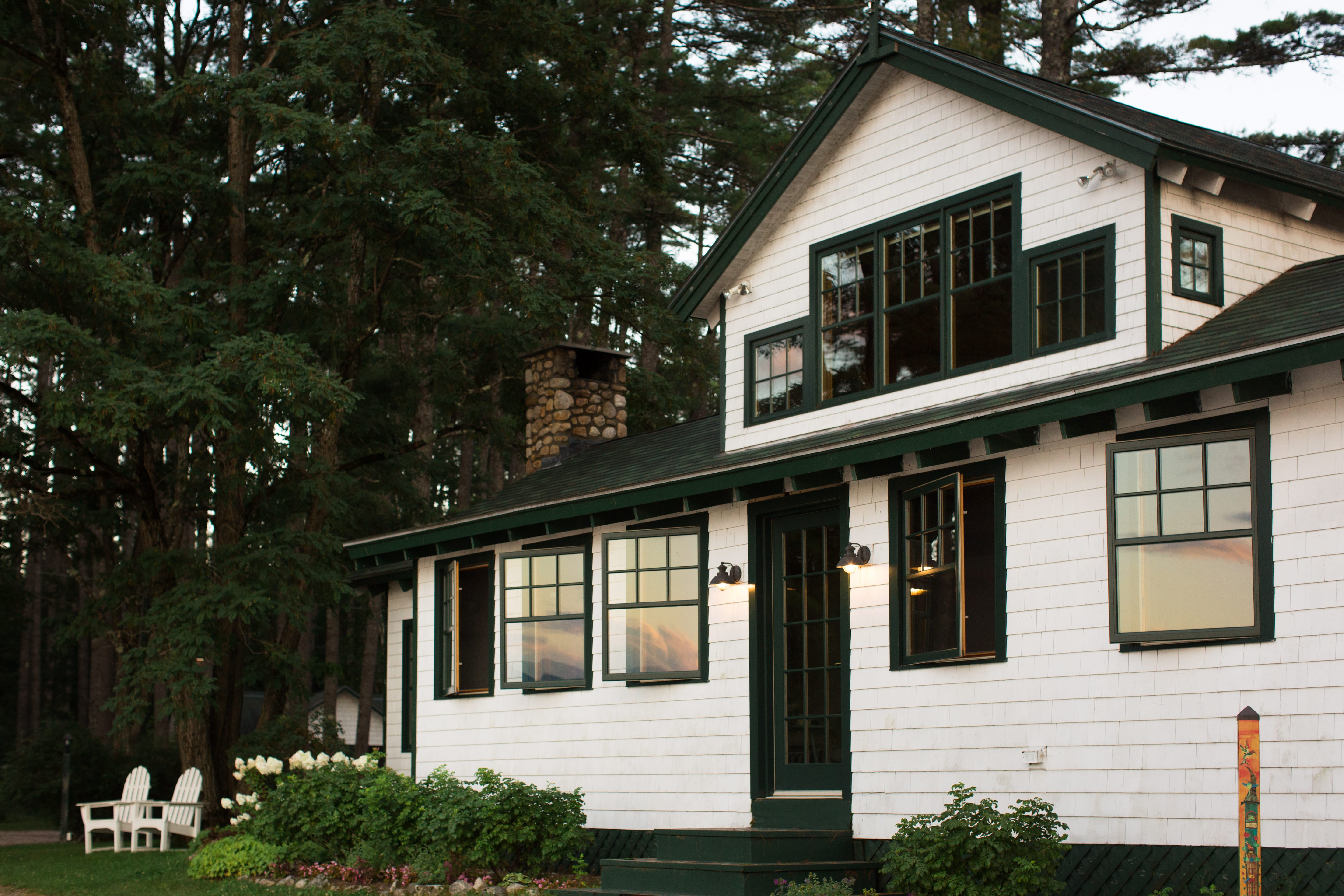 Green and white cottage