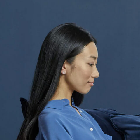An asian woman's side profile