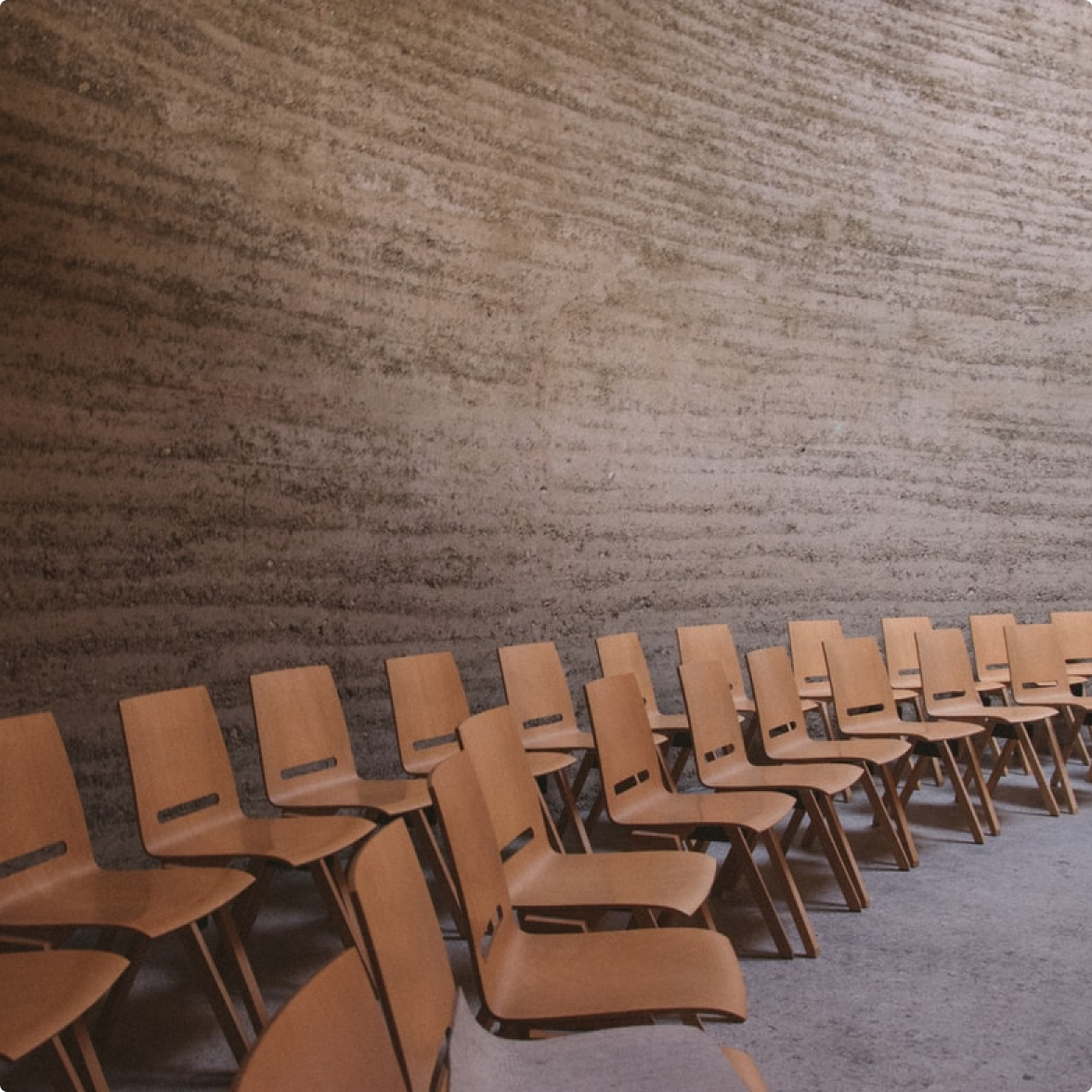 Chairs set up in a room