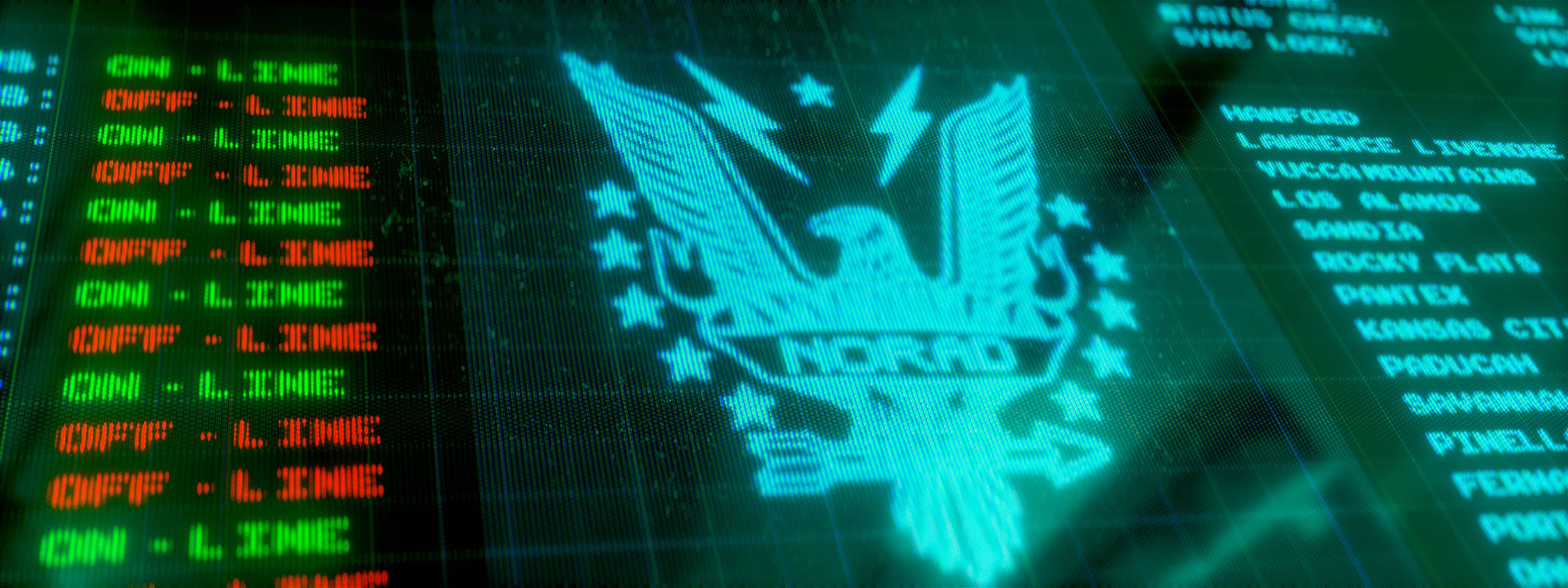 A close up of a computer screen showing a NORAD logo and data