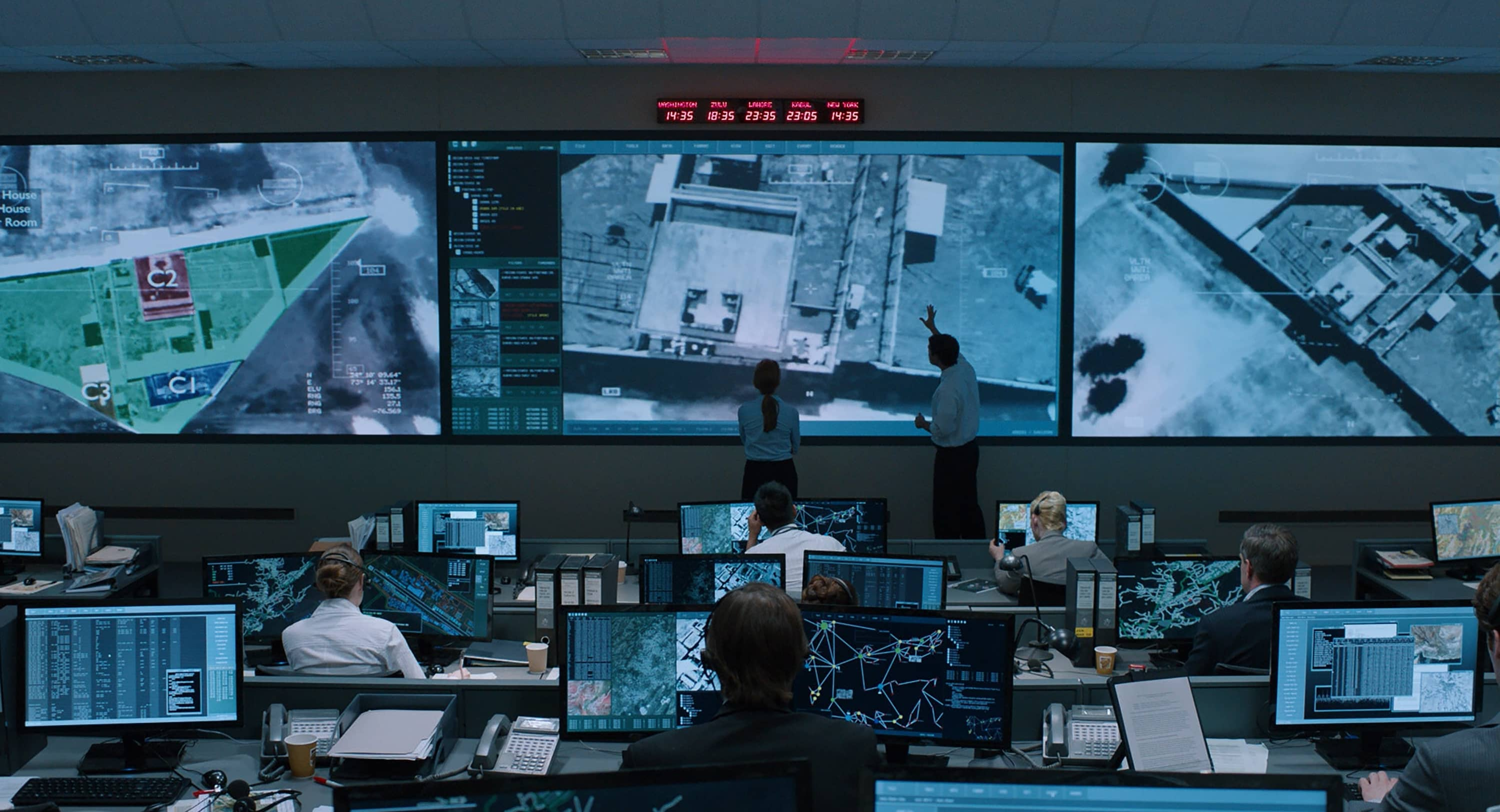 An active mission control room