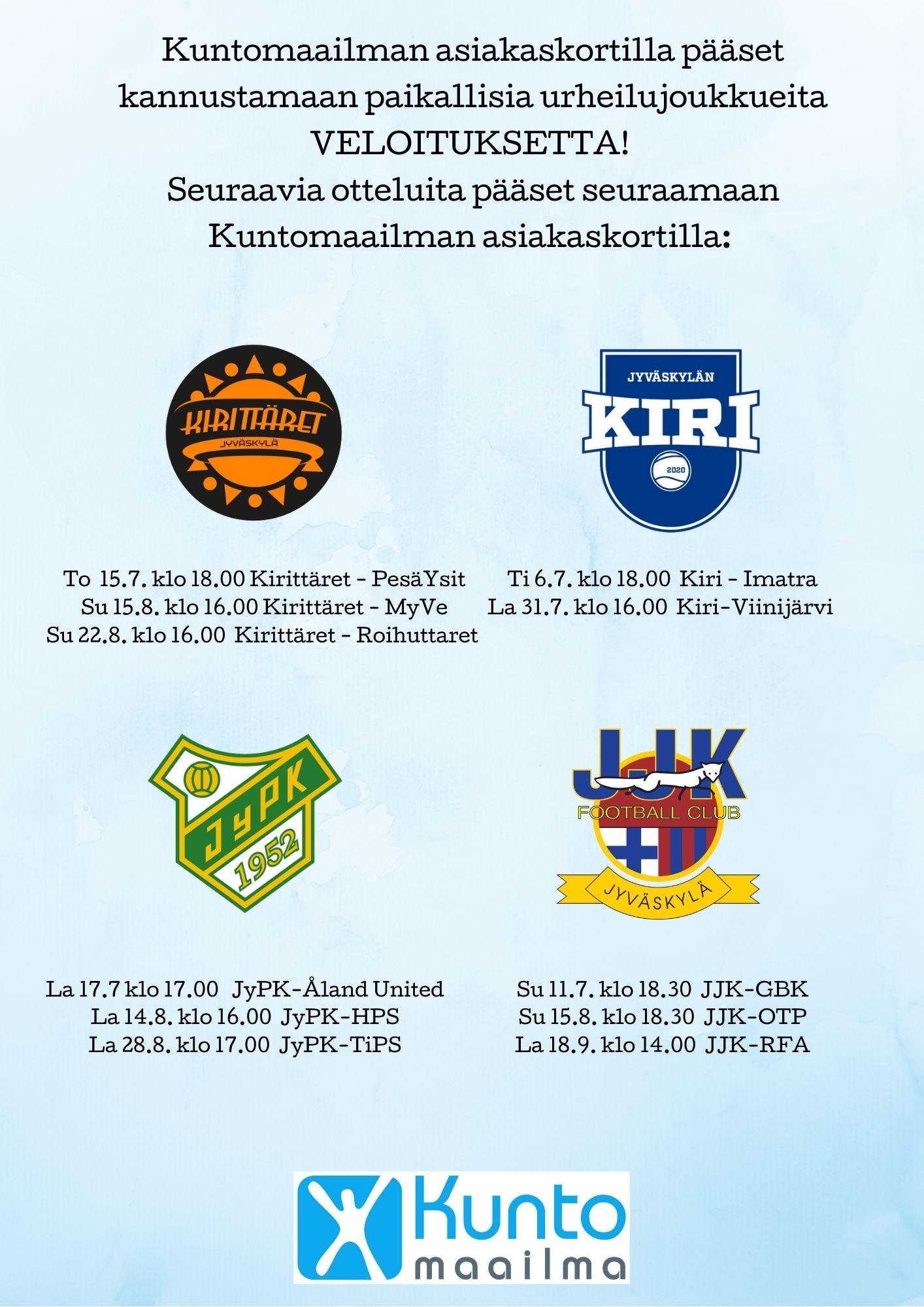 Huippupalloilua Kuntomaailman asiakkaille!