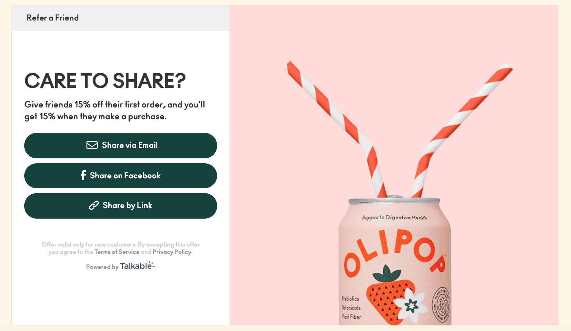 Olipop referral, by Talkable