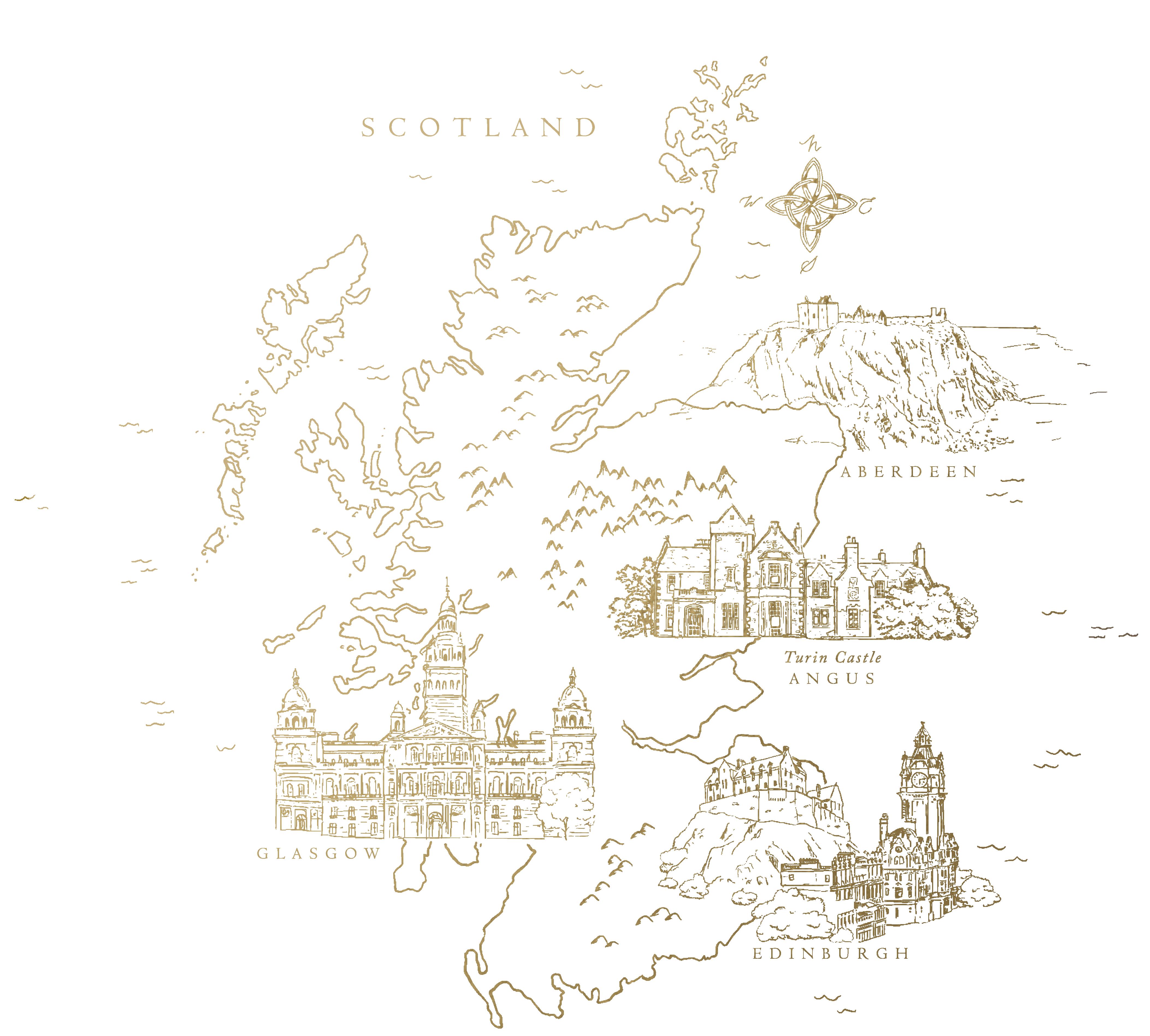 Map of Scotland Turin Castle Scotland